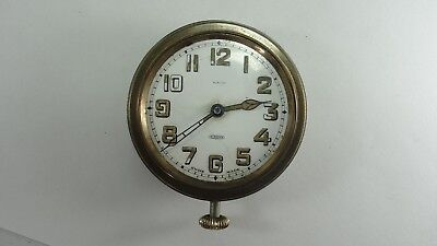 Vintage Swiss LACO 8-Day Car Clock Missing Crystal Runs