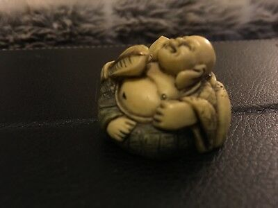 Antique Vintage NETSUKE BUDDHA Hand Carved Asian Art Excellent Condition