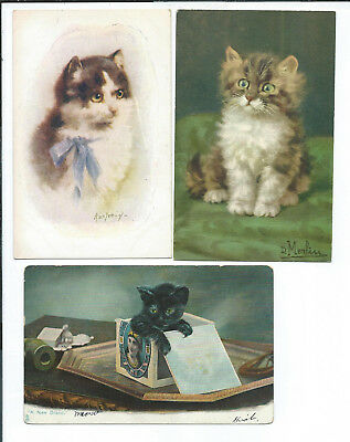 Lot of 6 Postcards Cats Kittens Tuck Non PC Photo