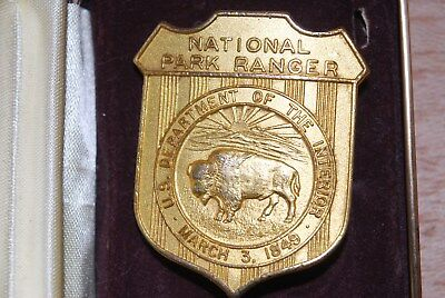 Us National Park Service RangerBadge, ObsoleteWith Bufflo, Gold Plated