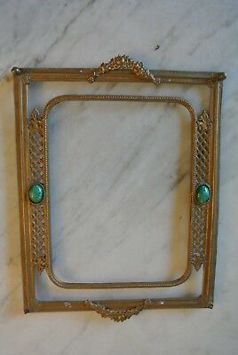 """Antique Ormolu cast Metal Faux Jade Stones Picture Frame or Vanity Tray 10 1/2"""""""
