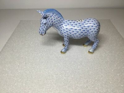 Herend Standing Zebra Blue Fishnet Figurine 15558