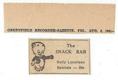 vtg 1960s THE SNACK BAR GREENFIELD MA AD PORKY PIG Looney Tunes cartoon int
