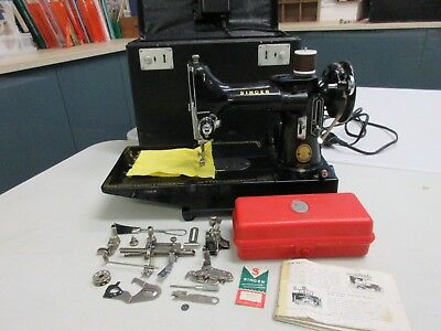 Vintage Singer Featherweight 222K Sewing Machine, Serviced, Attachments, Manual
