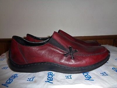 NEW Women's Reiker Shoes Loafers 9 1/2  EU 41 Burgundy Leather Anti-Stress