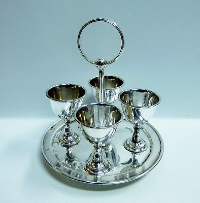 Antique Harrison Brothers & Howson Silver Plated 4 Person Egg Cups Set