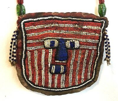 Antique Yoruba Beaded Ritual Diviners Necklace Pouch Shaman Mask African Art