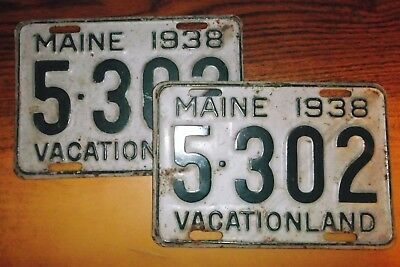 """1938 Maine License Plates/Tags Matched Set of 2 """"5-302"""" Good Decent Matched Pair"""