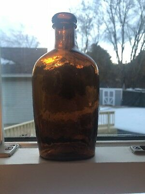 Whitney Glassworks Amber Pint Flask Applied Collared Lip Whittle And Bubbles