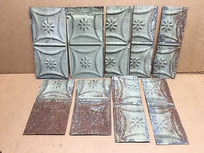 "9pc Craft Lot 5"" by 10""+ Antique Ceiling Tin Metal Reclaimed Salvage Art"