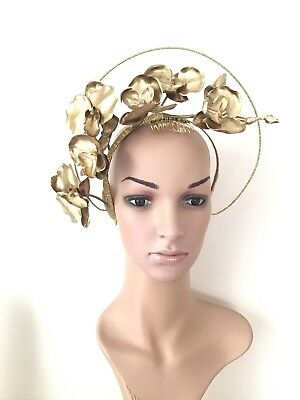 Gold Fascinator Halo With Gold Orchids SALE