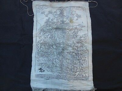 Antique  Mongolian Buddhist Woodblock Print On Silk Khadag