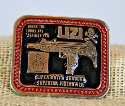 Vintage UZI Machine Gun BELT BUCKLE Fire Arms Military NRA War New Old Stock