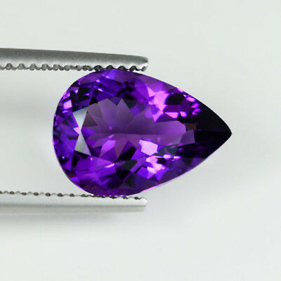3.73 ct ^  FINE QUALITY - BEST PURPLE  NATURAL  AMETHYST - Pear @ See Vdo RY