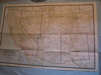 VINTAGE SOUTHWESTERN UNITED STATES LARGE WALL MAP National Geographic Dec. 1948