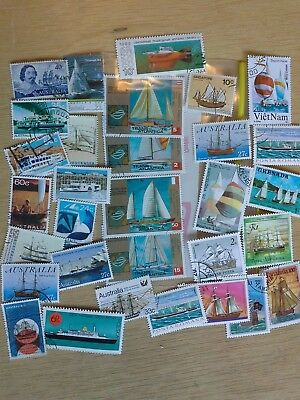 30 different used stamps with marine vessels, ship, boat themes