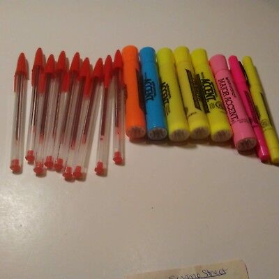 9 red pens, 6 fat highlighters, 2 skinny highlighters LOT Office School Supplies