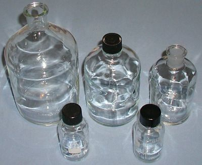 LOT of (5) Corning Pyrex & Wheaton 2000/1000/500ml Glass Reagent Bottles ** AAA