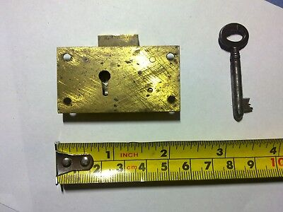 drawer lock, small, 4 lever, antique or vintage ( NM1)