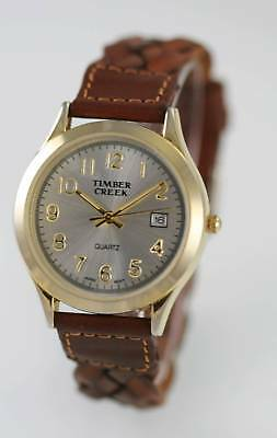 Timber Creek White Mens Stainless Gold Battery Quartz Date Brown Leather Watch