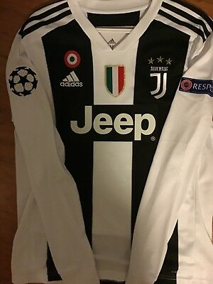 sports shoes 40cdd c2d08 NEW RONALDO LONG SLeeve White Black Soccer Jersey Juve Juventus size Medium