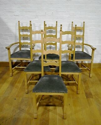 Antique style set of 6 high back light Oak dining chairs