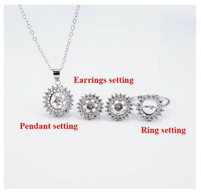 Sterling Silver CZ Halo Set Ring Earrings Pendant Chain Setting Blank Pearl Cup