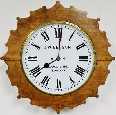 Antique English J W Benson Tiger Oak 8 Day Twin Fusee Dial Station Wall Clock