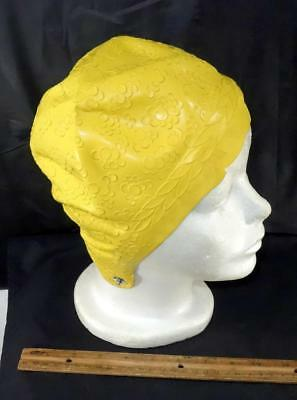 Vintage YELLOW Bubbles 60's Rubber Swimming Cap Sea Siren Pretty Products