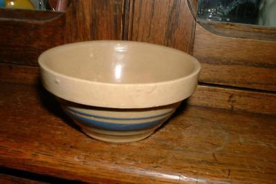 """Vintage Yellow Ware BLUE Banded 5"""" Mixing Bowl collectible AAFA"""