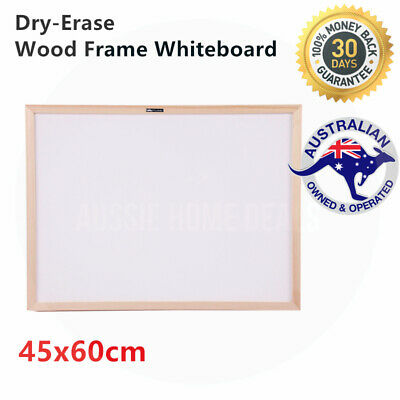 Portable Whiteboard Non-Magnetic Dry-Erase Wooden Frame Home Office 45x60cm