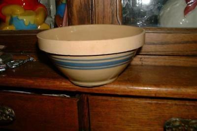 """Vintage Yellow Ware BLUE Banded 8"""" Mixing Bowl collectible AAFA"""