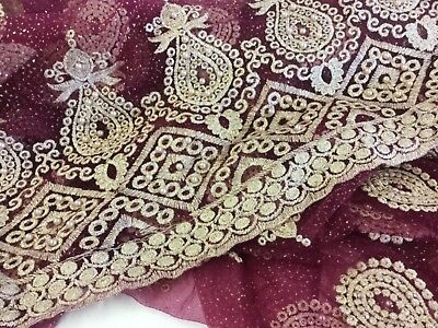NEW Designer High Class Maroon Gold Pearl Paisley Border Lace Fabric 51'' 132 cm