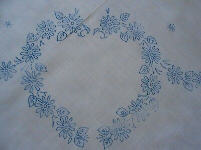 Beautiful Vintage Linen/rayon Mix Tablecloth Transferred Ready To Embroider