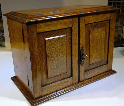 Victorian Oak Smokers Cabinet with Original Jar and Bowls~Drawers and Key~