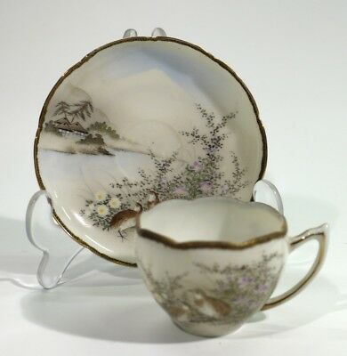 Very Fine Painted Antique Japanese Late Meiji Period Cup & Saucer.