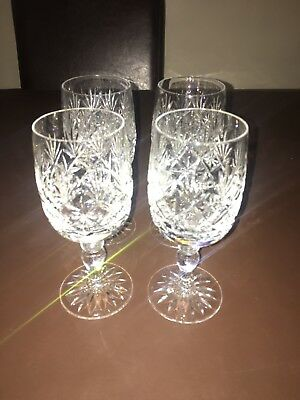 Thomas Webb Set Of Four (4) Crystal Wine Glasses Excellent Condition