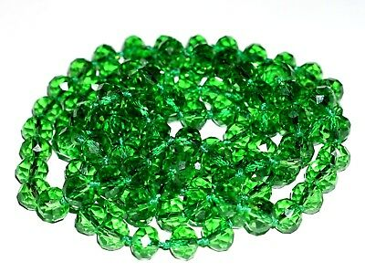 """Vintage Czech  Green Faceted Glass  Very Long  Beaded Necklace 46"""" Knotted"""