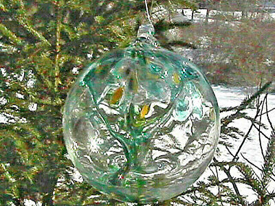 "Hanging Glass Ball 6"" Diameter ""Winter Tree"" Witch Ball (1) #26"