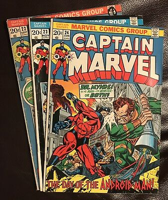 Captain Marvel lot of 3 Marvel comics issue #22-24 1972