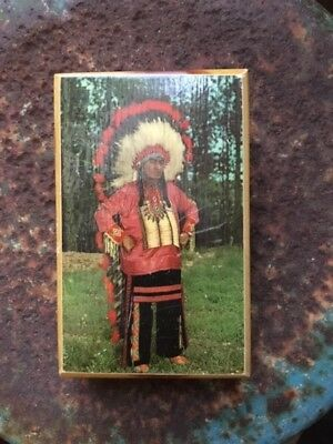 Indian Chief Cedar Wood Trinket Box Souvenir of Mission South Dakota