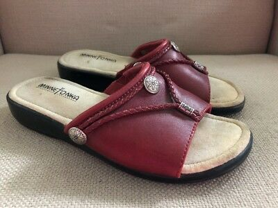 Minnetonka Moccasins Red Leather Slides Sandals Size 7