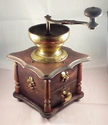 Antique Coffee Grinder with Brass and Iron Fittings