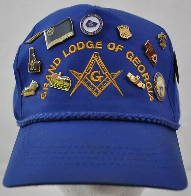 Vintage Masonic Grand Lodge Of Georgia & 12 States Pins Collection Ball Cap Hat