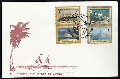 British Virgin Islands 1986 2x FDCs 20th Anniv Cable & Wireless HQ - Cable Ships