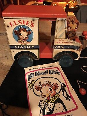 Borden Elsie Dairy Truck Fisher Price Pull TOY 1948 WITH ORIGINAL PULL STRING