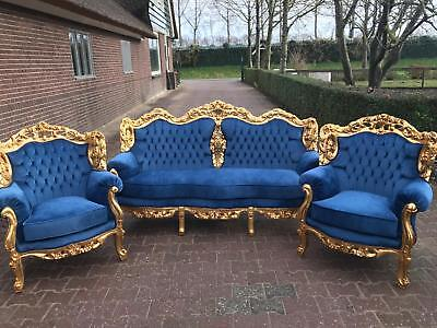 Antique unique sofa/settee/couch set with 2 chairs in Italian Rococo style