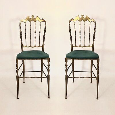 An ORIGINAL PAIR of Italian Mid Century Vintage Solid Brass Chiavari Chairs 1950