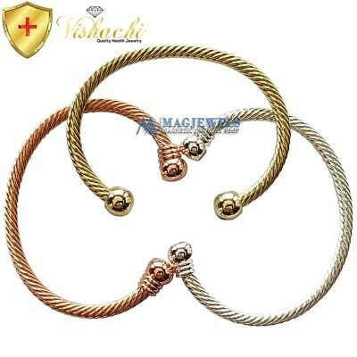 Pure Solid Copper Magnetic Wire Bangle/bracelet Arthritis Gold Silver Cb60V