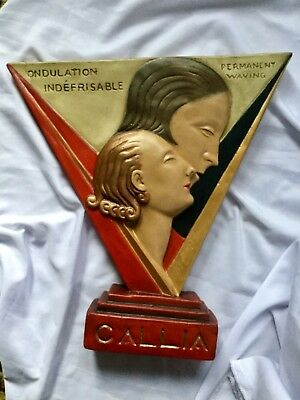 UNUSUAL Advertising Large deco style wall mask plaque,,CALLIA HAIR PRODUCTS
